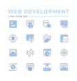 set color line icons web development vector image