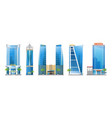 set modern hotel buildings skyscraper towers vector image vector image