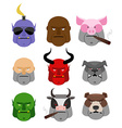 Set Serious head Evil muzzles of animals and vector image vector image