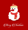 snowman with red background typographic vector image vector image