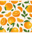 summer pattern with oranges flowers and leaves vector image vector image