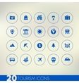 Thin simple tourism blue icons on light background vector image vector image