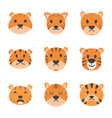 tiger cartoon icons vector image