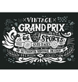 vintage grand prix hand drawn grunge vintage vector image