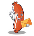 with envelope sausage character cartoon style vector image vector image