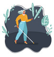 woman is walking on sidewalk using a cane vector image vector image