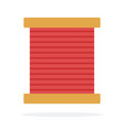 wooden coil with red thread flat isolated vector image vector image