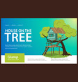 wooden treehouse with upstairs poster vector image