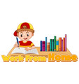 work from home theme with boy doing homework vector image