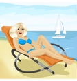Young fashion woman relaxing on chaise-longue vector image vector image