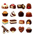 chocolate desserts of sweets and vector image