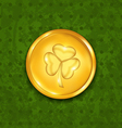 Golden coin with three leaves clover Grunge St vector image
