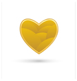 Golden heart on white background vector image