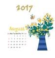 Calendar August 2017 Template Week starts vector image
