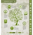 Ecology infographics with green tree sketch for vector image