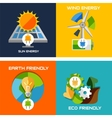 Set of flat design concepts - green energy vector image
