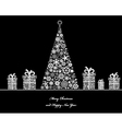 tree with cristmass gifts vector image