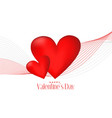 3d red hearts with line wave valentines day vector image vector image