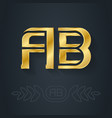 a and b initial golden logo ab - metallic 3d icon vector image vector image