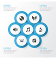 audio icons set collection of cd phonograph vector image vector image