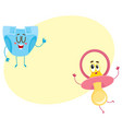 baby dummy pacifier and diaper nappy characters vector image vector image