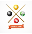 Billiard Balls Concept with Cue vector image vector image