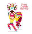 Boys With Lion Dancing vector image vector image
