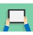 Business man holds holding tablet computer vector image vector image