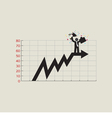 Businessman Standing On Top Of Growing Chart vector image vector image