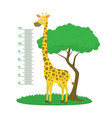 cartoon meter wall with giraffe and tree green vector image vector image