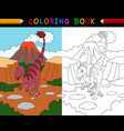 cartoon velociraptor coloring book vector image