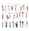 cheering protesting people crowd holding banners vector image