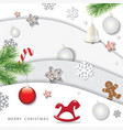 christmas and happy new year winter background 3d vector image vector image