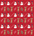 christmas pattern snowman red vector image