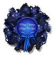 christmas sketch with a christmas wreath in blue vector image vector image