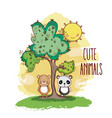 cute animals in the forest vector image vector image
