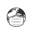 earth globe in medical face mask icon vector image