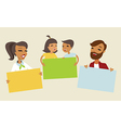Family holding blank cards vector image