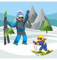 father teaching little son how to ski vector image vector image