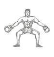 fitness athlete lifting kettlebell doodle art vector image vector image