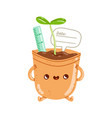 flower pot character vector image vector image