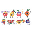 fruit fitness characters doodle fruit mascots do vector image vector image