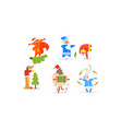 funny christmas characters for winter holiday vector image