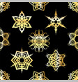 golden snowflakes tiled pattern background vector image vector image