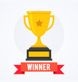 golden trophy flat style icon with winner banner vector image