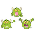 green monster cartoon emoji character collection vector image