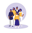 group of black family members characters vector image