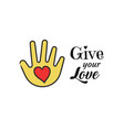 hand with heart shape icon give your love vector image vector image