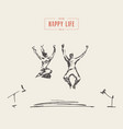 happy couple loving people jumping freedom vector image