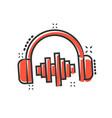 headphone headset icon in comic style headphones vector image vector image